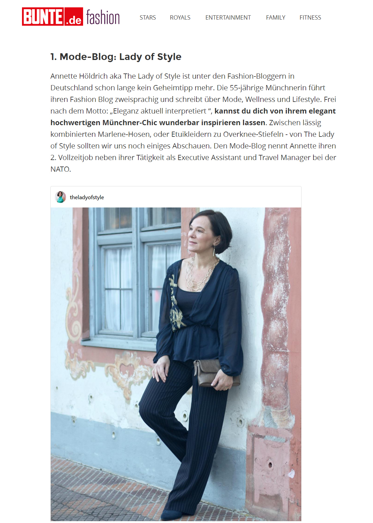 Lady of Style | BUNTE | Fashion Inspiration - Deutschlands stylishste Mode Bloggerinnen über 40