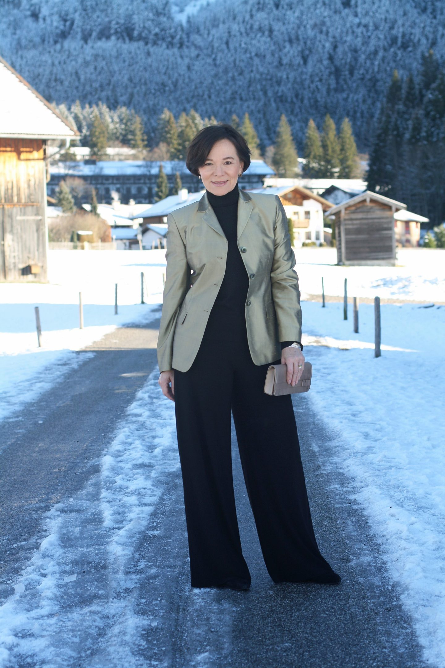 Marlenehose Seidenblazer Eleganz Winterlook Businesslook 50plus Blogger LadyofStyle