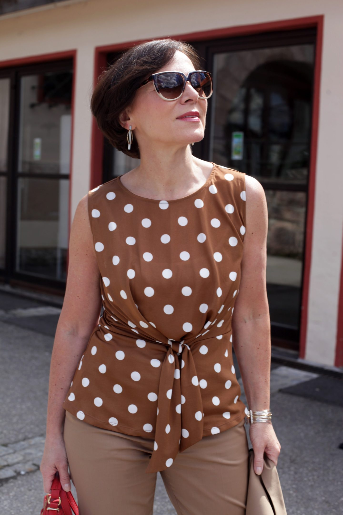 Hosenanzug Braun Polka Dots Pretty Woman Businesslook 50plus LadyofStyle