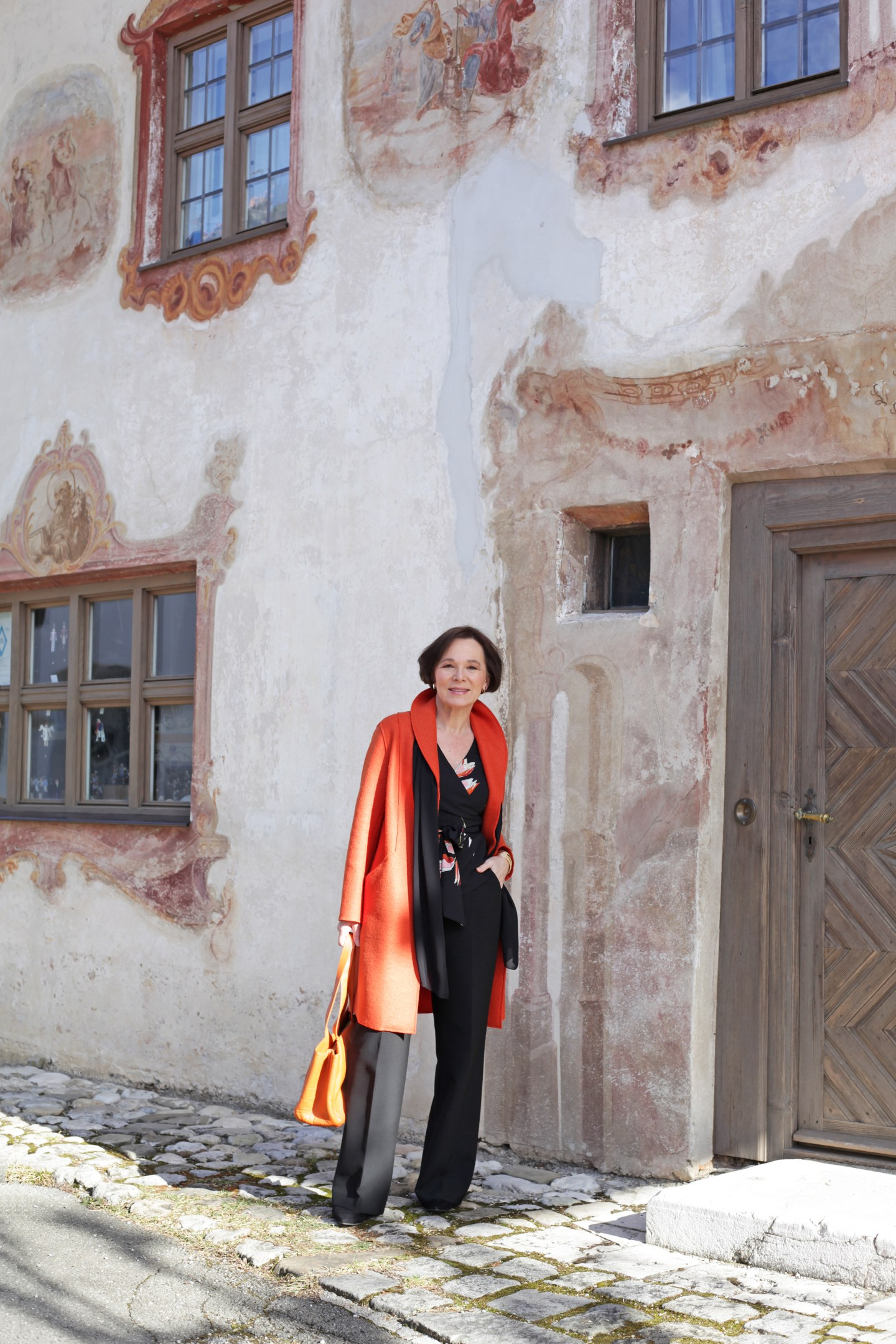 LadyofStyle MADELEINE Businesslook Orange Wollmantel Marlenehose 50plus Blogger