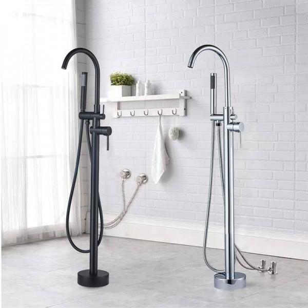 bathtub faucet brass chrome floor mount bathroom faucet swivel spout single handle tub filler hand shower sprayer mixer tap
