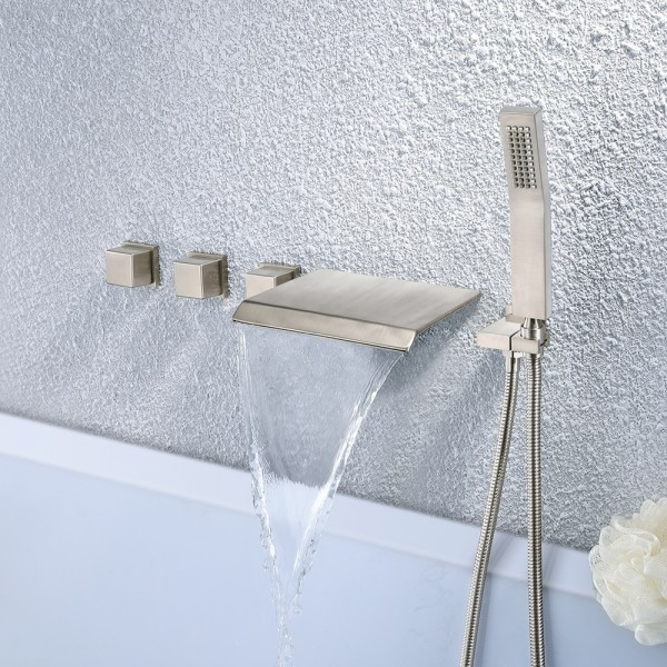 moda waterfall wall mounted tub filler faucet with hand shower brushed nickel