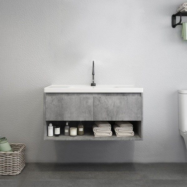 modern 24 36 40 gray floating bathroom vanity wall mount ceramics single sink vanity with drawers shelf