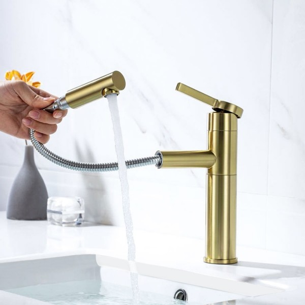 modern luxury brushed champagne single handle one hole bathroom sink faucet with pull out sprayer solid brass
