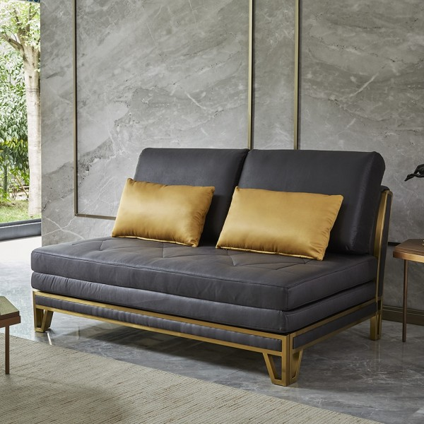 modern queen king tufted sleeper sofa gray daybed fabric upholstery convertible sofa bed in gold finish