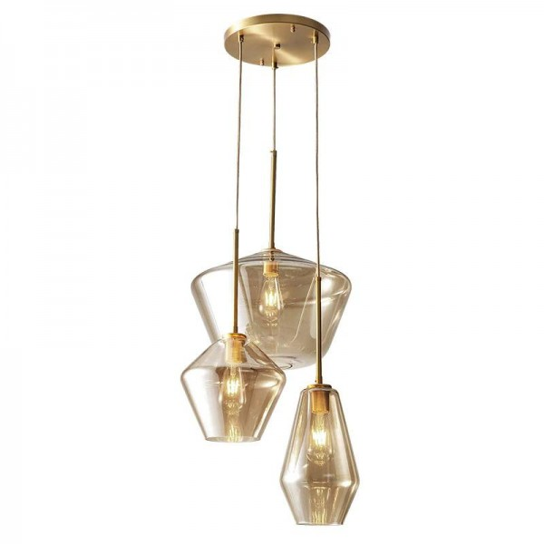 nordic post modern led glass pendant lights full copper foyer dining room study bedroom droplight clear and champagne glass