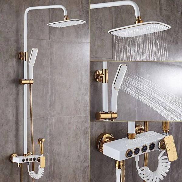 shower faucets brass white bath shower set wall mount bathtub faucet set rain shower head handheld round tub mixer taps lad 18088