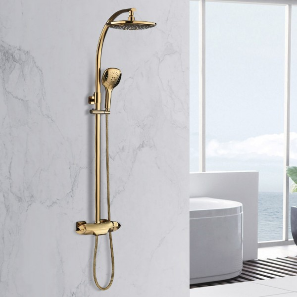 zime modern gold exposed adjustable shower faucet thermostatic valve with 2 function hand shower waterfall tub spout shower system solid brass