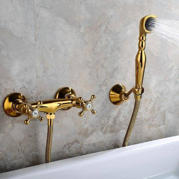 high quality new shower faucets brass luxury gold bathtub faucets rain shower handheld wall mount shower mixer tap xt375