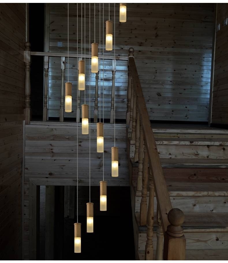Luxury Italy Style Large Wooden Staircase Light Led Villa Big   Wooden Stairs With Lights   Light Gray   Motion Sensor   Side   Glass   Backyard Wood