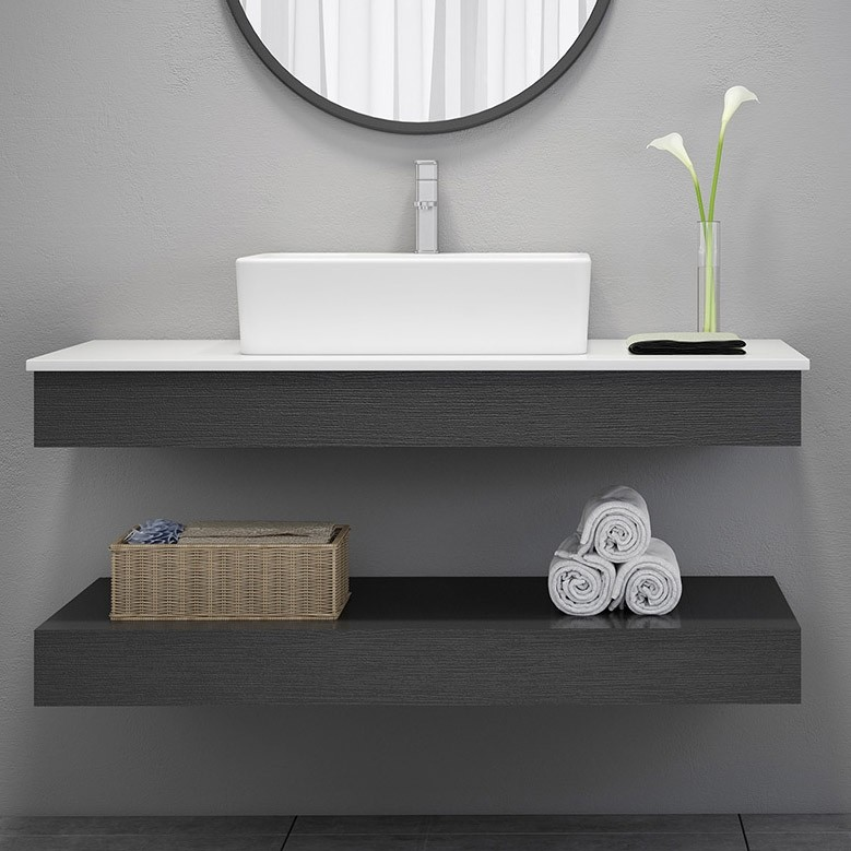 modern 24 35 floating wall mount single bathroom vanity set with stone resin top vessel sink black and white