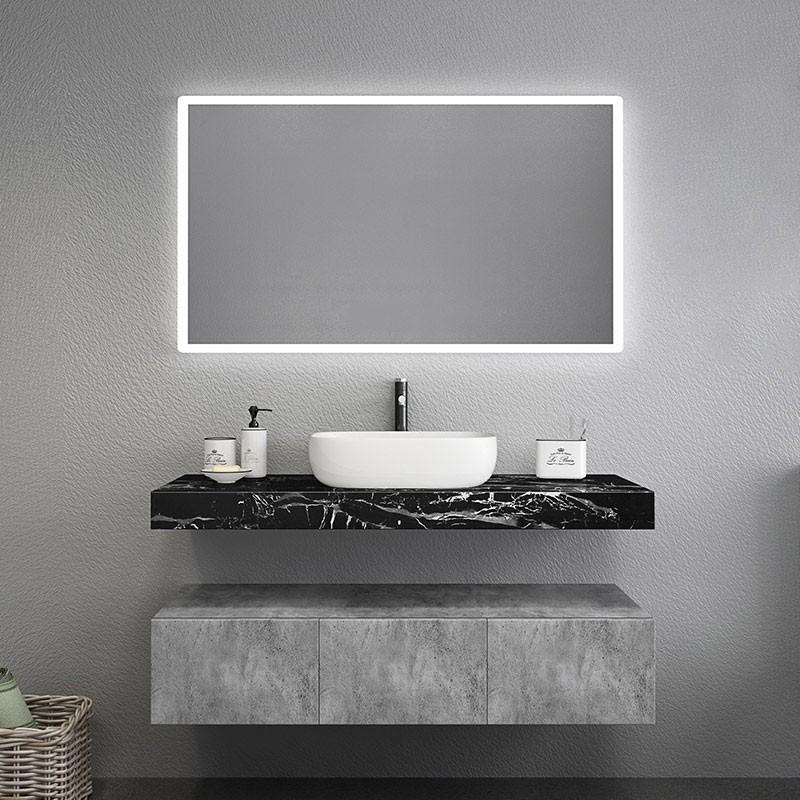 modern 48 60 floating bathroom vanity set wall mount vessel single double sink vanity with drawers black marble