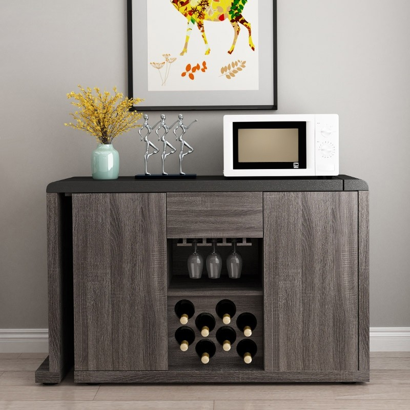 modern extendable kitchen sideboard buffet table cabinet with wine rack gray black 48 to 100