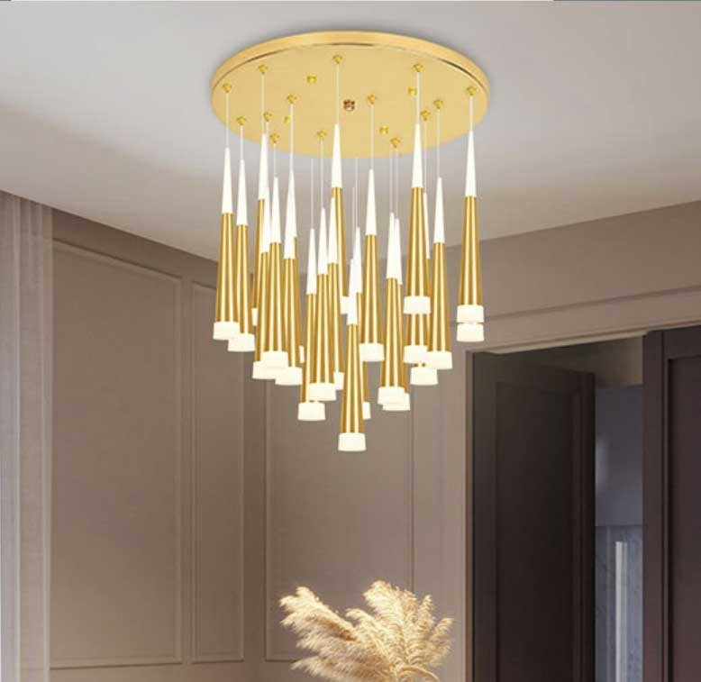 modern long led cone pendant lights for stairwell salon 1 5 3 5m spiral stair lights stairway dining room hanging lamp led avize