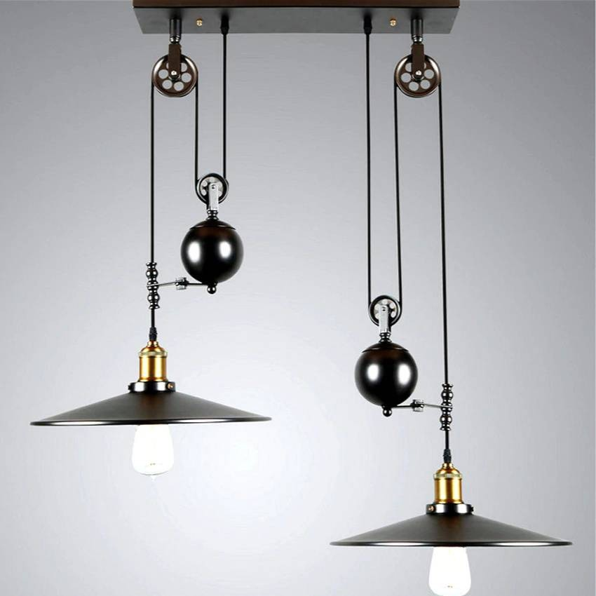 nordic pulley creative pendant lights 2 heads 30cm lampshade vintage wrought iron restaurant lamp industrial style hanging lamp