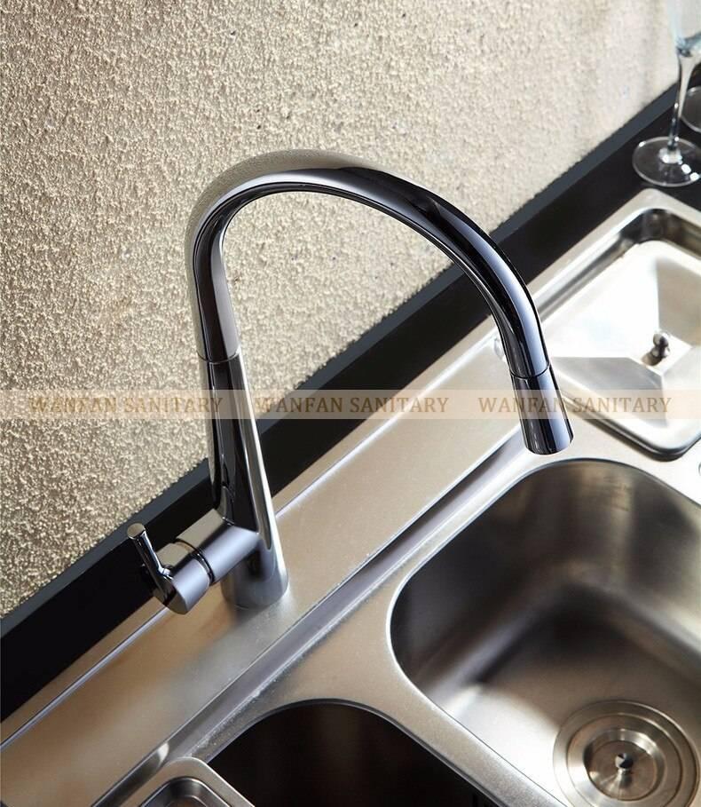 wanfan modern polished chrome brass kitchen sink faucet pull out single handle swivel spout vessel sink mixer tap lk 9906