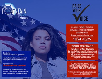 Raise Your Voice - Vote Fountain Theatre Event Flyer
