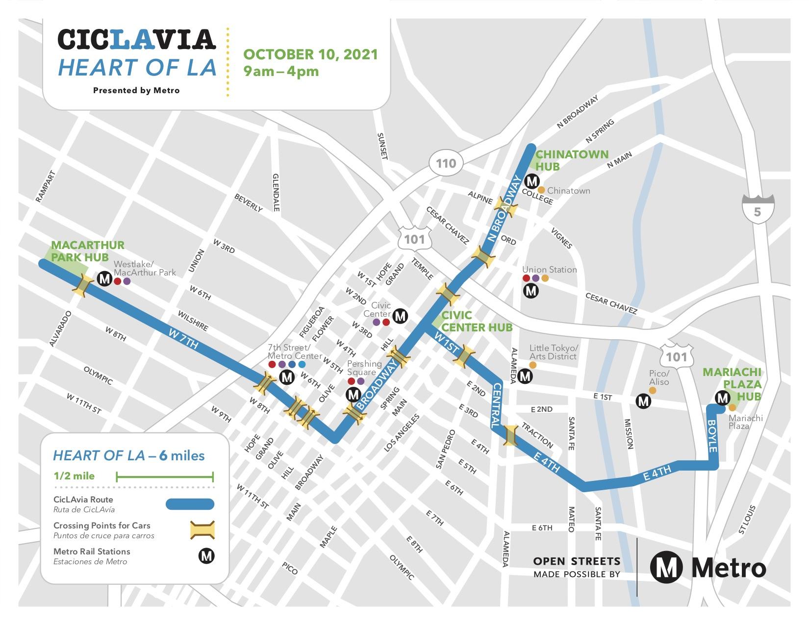 CicLAvia Heart Of LA Map