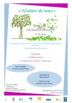 """Atelier Nourrissons/Parents (0-18 mois) """"Graines et Jeux d'eau)"""