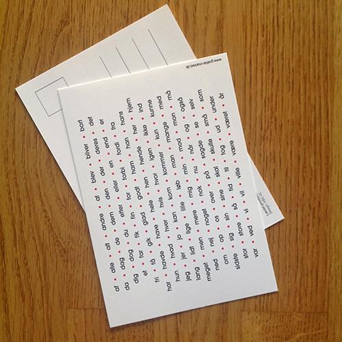 Postkort med 120 hyppigste ord 1