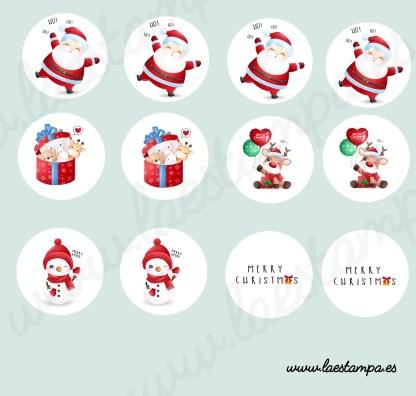 stickers pegatinas navidad redondas ideales para decorar tus cajas, regalos, decora tu casa, frascos, envíos de alta calidad pvc