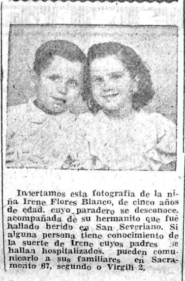 Búsqueda de la niña Irene Flores Blanco en un anuncio del Diario de Cádiz