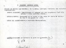 Ficha aclaratoria de la identidad de Rosendo Loureiro López