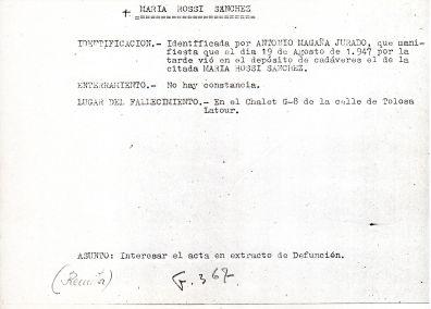 Ficha aclaratoria de la identidad de María Rossi Sánchez
