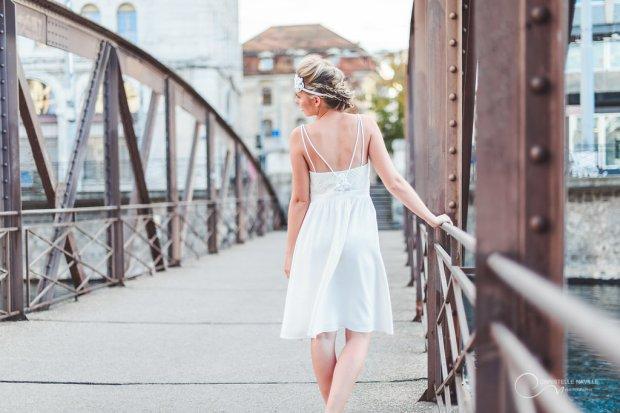 robe courte bretelles LES MARIEES FOX-mariage civil - la fabrique à mariage