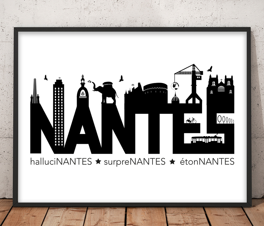 affiche nantes noir et blanc minimaliste la fabrique des nuages. Black Bedroom Furniture Sets. Home Design Ideas
