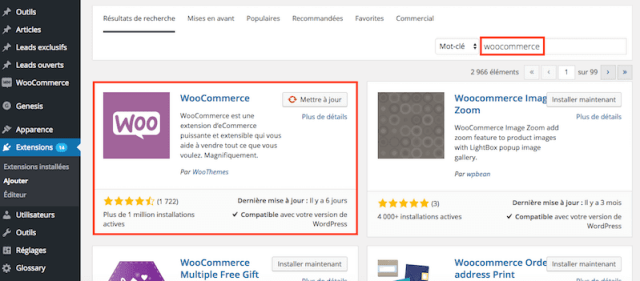 creer site woocommerce installation