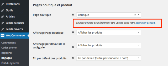 creer site woocommerce reglages page permalien