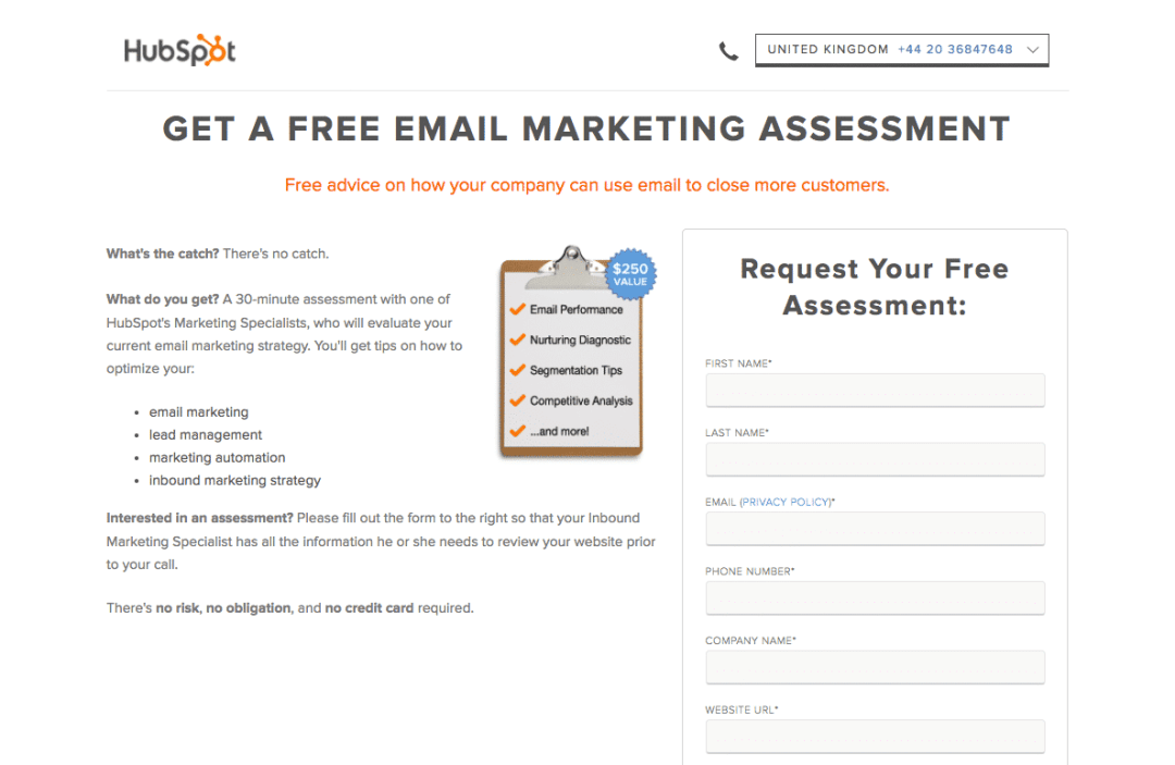 exemples atterrissage acquisition trafic hubspot assessment