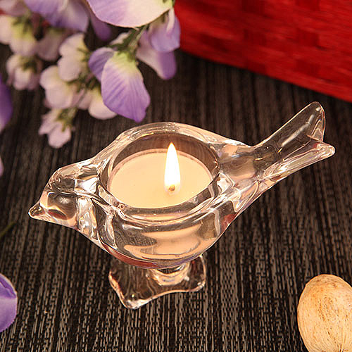Love Bird Bird Shaped Crystallike Glass Candle Holder with Tealight Candle lafavoritafavorscom