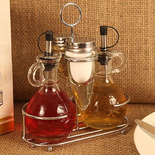 """Deluxe Mini Cruet Set"" Oil Vinegar Cruets Salt Pepper"