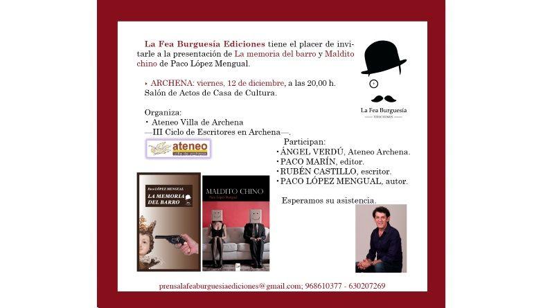 """Presentación en Archena de """"La memoria de barro"""""""