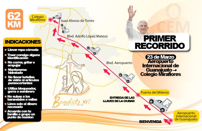 Recorrido de Benedicto XVI en su Llegada a México