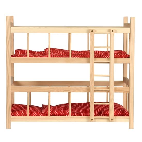 lit superpose en bois avec literie rouge