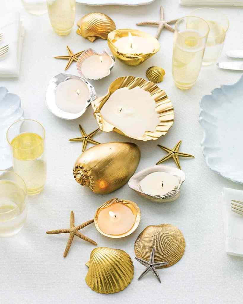 bougies coquillages dorés