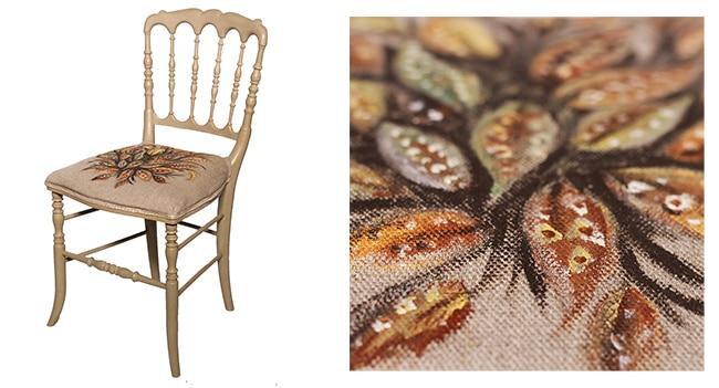 chaise avec tissu de l'assise peint grâce à la chalk paint annie sloan