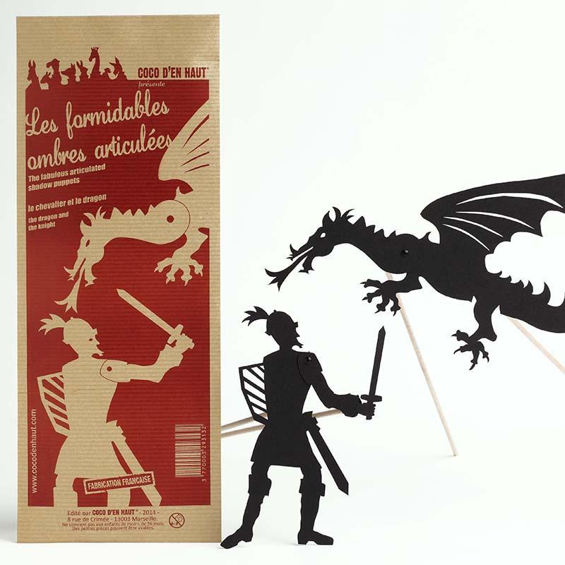 marionnette articulées pour enfant représentant un chevalier et un dragon