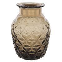 Vase - bouteille en verre fumé et laiton