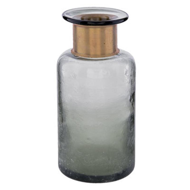 Vase - bouteille en verre fumé gris et laiton