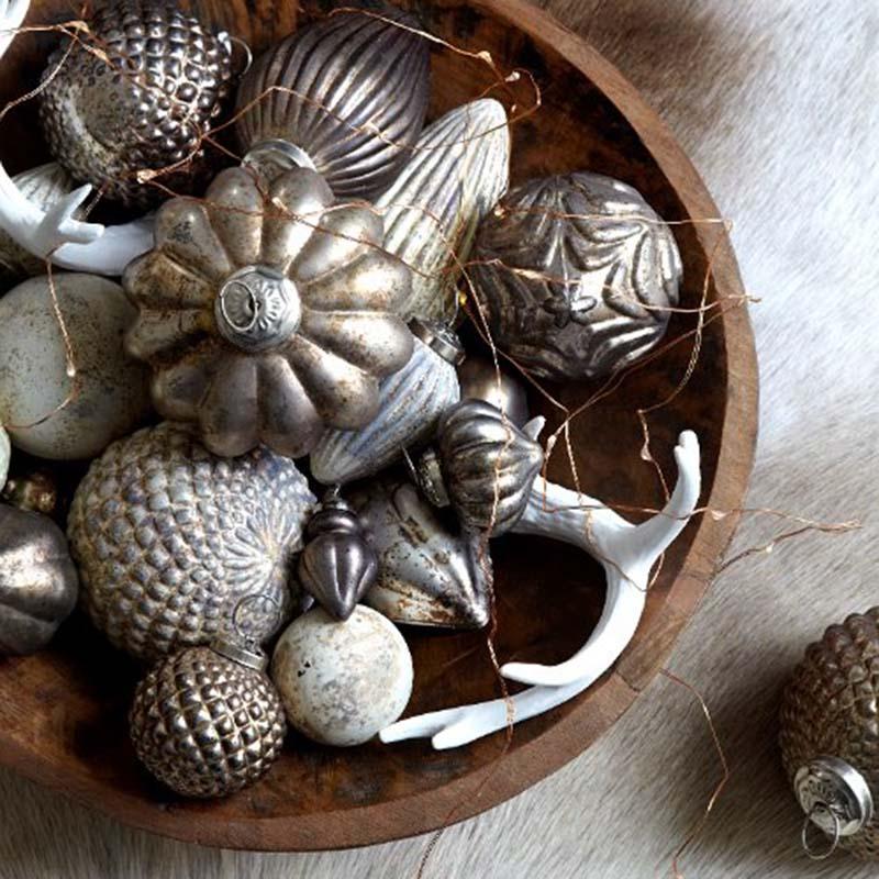 Decoration Noël TRISTAN or gris cône anneaux 7cm