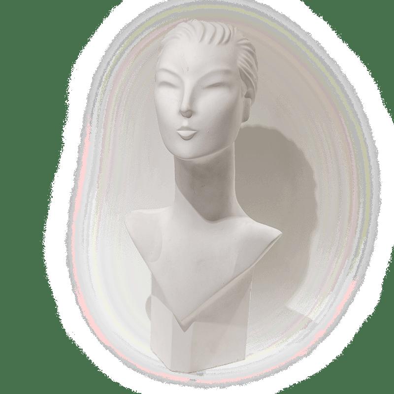 Plâtre buste femme art déco