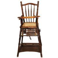 Chaise haute 1900 pour enfant, entièrement patinée à la main par La Fée Caséine