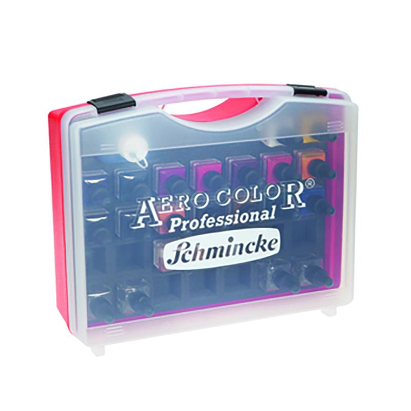 Coffret de couleurs extra fines pour aérographe 19 flacons de 28ml dans un coffret en plastique