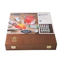 Coffret en bois avec couvercle 9 couleurs fines à l'huile 60ml + Medium W Gel pinceau 10