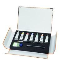 Coffret en carton à fermeture magnétique contient 7 tubes de couleurs assorties de 35ml. Terpine (60 ml), pinceau 10 Da Vinci et fusain