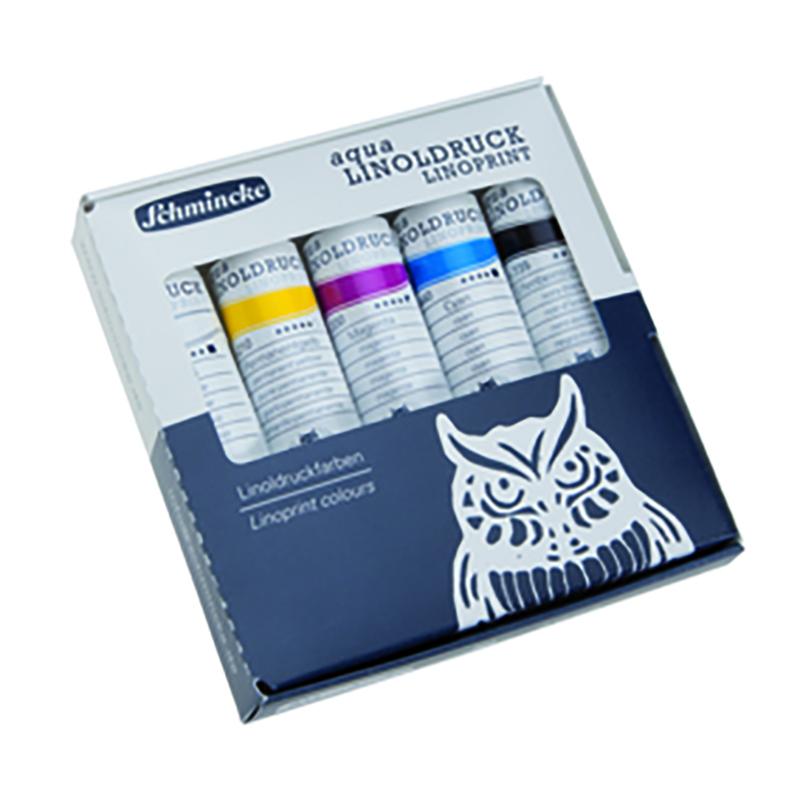 Coffret de couleurs pour linogravure 5 couleurs assorties de 20ml coffret carton